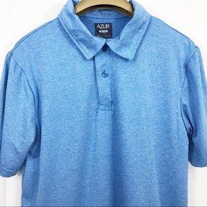 Azur Polo Shirt Short Sleeves Athletic Stretch Top